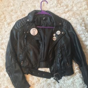 Faux Leather jacket / vintage motocross style